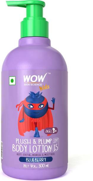 WOW SKIN SCIENCE Kids Plush & Plump Body Lotion - Blueberry - SPF 15 - No Parabens, Mineral Oil, Silicones & Color - 300mL
