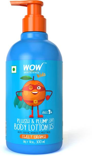 WOW SKIN SCIENCE Kids Plush & Plump Body Lotion - Sweet Orange - SPF 15 - No Parabens, Mineral Oil, Silicones & Color - 300mL