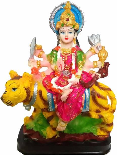 salvusappsolutions Marble Goddess Maa Durga Devi Idol Handicraft Statue Sherawali MATA Rani Spiritual Puja Vastu Showpiece Figurine Religious Murti (Multicolour) Decorative Showpiece  -  15 cm