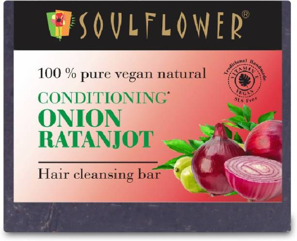 Soulflower Conditioning Onion Ratanjot Hair Cleansing Bar 150g, For Cleanses Hair And Scalp, Controls Premature Greying Of Hair, Thicker Hair & Reduced Breakage, Luxury Handmade Soap