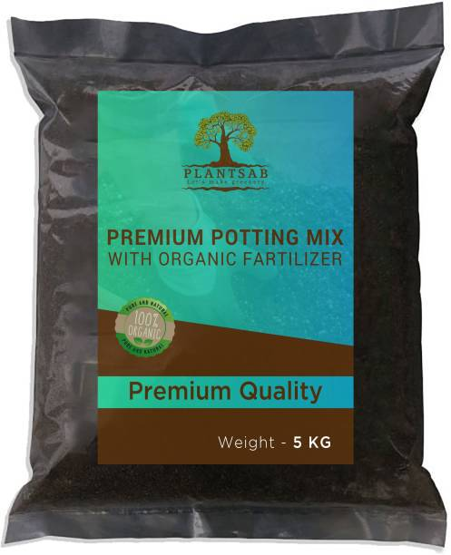 Plantsab Potting Mix 5Kg - Premium Enriched Organic All Nutrients Fertilizer(Vermicompost, Neem Cake Power, Cocopeat, Perlite, Cow Dung Manure ) for Plants Fertilizer, Soil, Manure, Potting Mixture