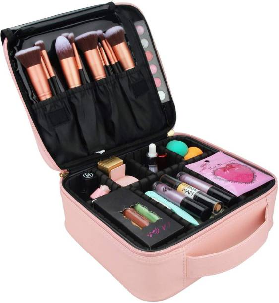HOUSE OF QUIRK Makeup Cosmetic Storage Case with Adjustable Compartment - Light Pink Makeup Vanity Box
