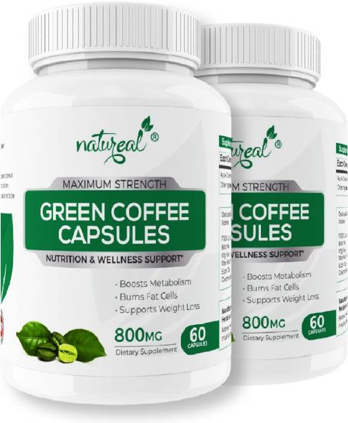 Natureal Green Coffee 800 mg Capsules for Weight Management   Advanced Formula Fat Burner