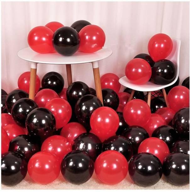 MITYA Solid RED AND BLACK METALLIC BALLOONS(50 PCS.) Balloon