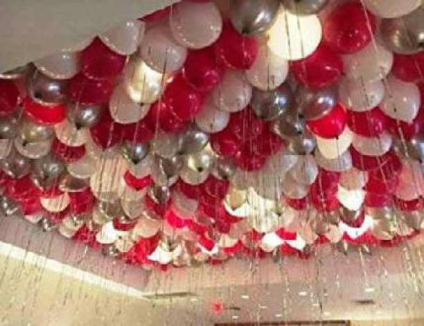 Juneja Enterprises Solid Red White and Silver Balloon