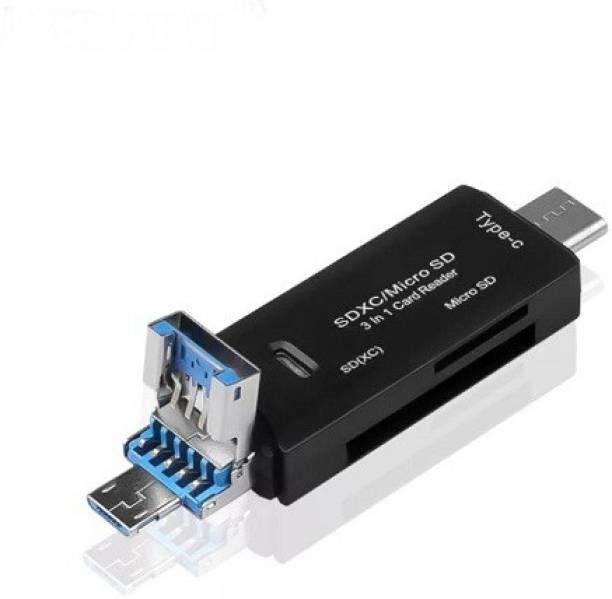 Pitambara 3 in 1 USB 2.0/ Type C / Micro USB OTG Card Reader, Flash Drive Multifunction Adapter Connector High Speed TF OTG Memory Card Reader Card Reader
