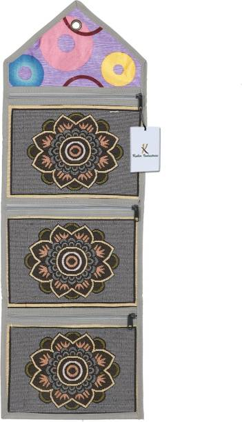 KUBER INDUSTRIES Flower Design Cotton Wall Hanging Magazine Holder(Grey) - CTKTC34504 Regular Organizer
