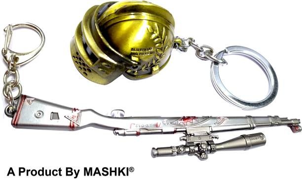 MASHKI PUBG DEVIL SKIN Kar98 Gun & LEVEL 3 HELMET keychain, Player Unknown Battle Gound Key Chain / key ring Limited Stock Only Key Chain