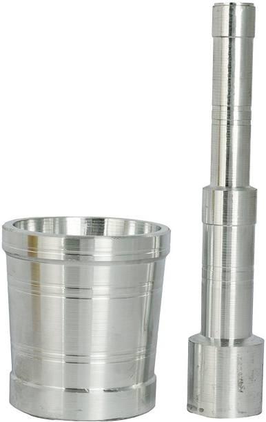 Craftacious Aluminium Khalbatta Mortar and Pestle Set Aluminium Masher