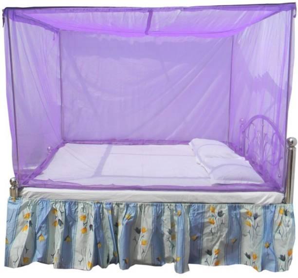 DIVAYANSHI Cotton Adults Purple Rectangular Fine Mesh Heavy Mosquito Net for Single Bed/Double Bed, 7x7 Mosquito Protection Repellent Mosquito Net
