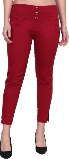 POPWINGS Regular Fit Women Red Trousers