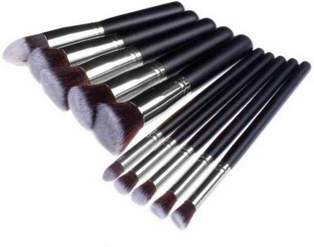 Sixplus 10 Pcs Makeup Brushes Soft Synthetic BLACK BRUSH