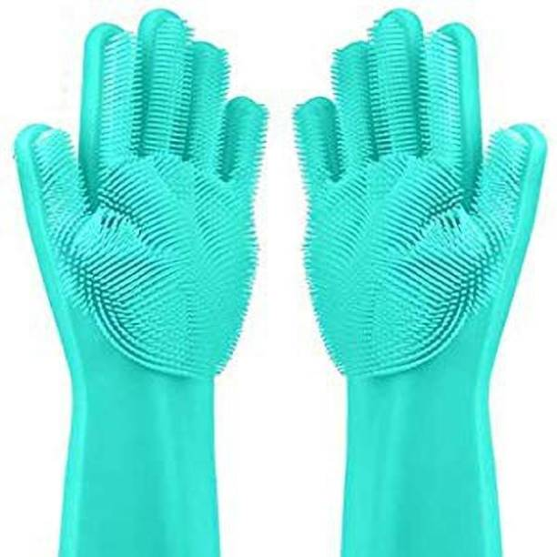 tfm \Magic Silicone Scrub Cleaning Gloves with Scrubber for Dishwashing and Pet Grooming Wet and Dry Glove