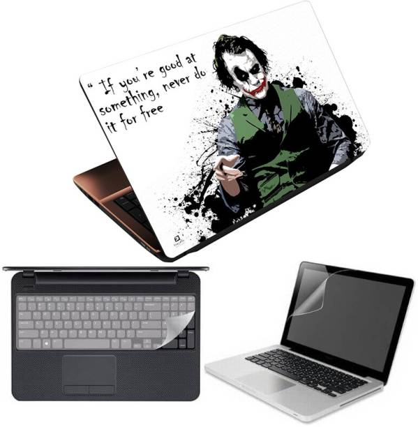 Anweshas 3in1 Combo Premium Quality Coated, Washable, Laptop Skin/Sticker/Vinyl/Cover for 15.6 inches Joker Wise Quotes Combo Set
