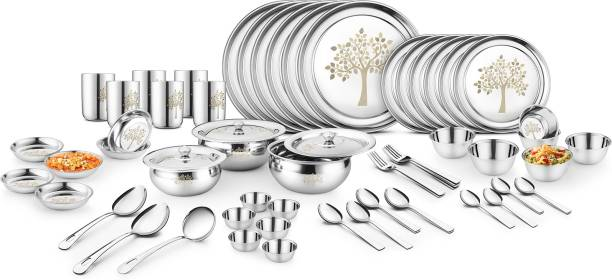 Classic Essentials Pack of 61 Stainless Steel Vriksha Dinner Set