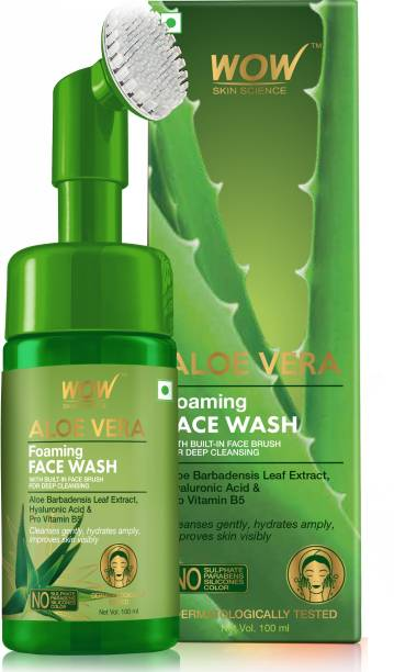 WOW SKIN SCIENCE Aloe Vera Foaming  with Built-In Face Brush for deep cleansing - No Parabens, Sulphate, Silicones & Color - 100mL Face Wash