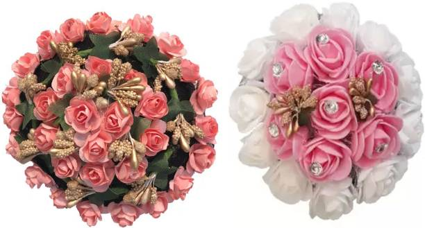 GadinFashion ™ Full Juda Bun Hair Flower Artificial flower gajra Combo for Wedding and Party Bun