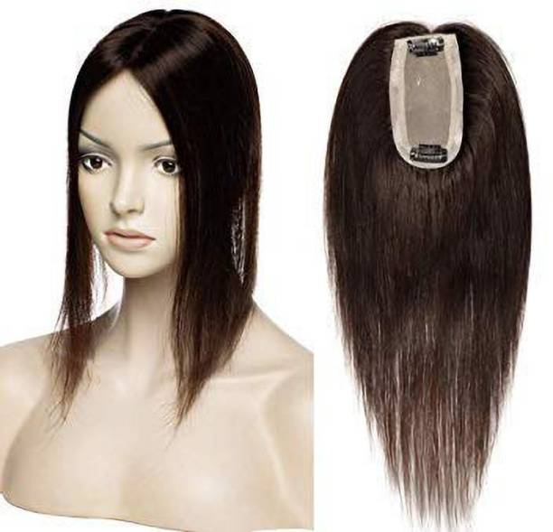 Ritzkart  Topper 20 inch Straight Double Knots  Pieces Black remi Human  Hand Made Clip In Crown piece Covering topper  Tape Toupee Wigs For Women (2x2) Hair Extension