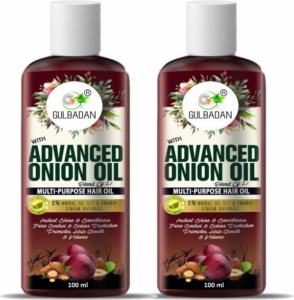 GULBADAN Advanced Onion Hair Oil For Hair Growth 100ml, Hair Stimulant with 21 Proven Natural Ingredients. Free From Mineral Oil, Silicones & Parabens. (Pack of 2) Hair Oil