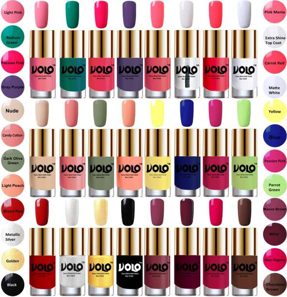 Volo Wholesale Deal Long Lasting Premium Nail Polish Combo No-01 Light Pink, Radium Green, Passion Pink, Gray Purple, Pink Mania, Extra Shine Top Coat, Carrot Red, Matte White, Nude, Candy Cotton, Dark Olive Green, Light Peach, Yellow, Royal Blue, Passion Pink, Parrot Green, Blood Red, Metallic Silver, Golden, Jet Black, Mauve Brown, Wine, Moon Magenta, Chocolate Brown