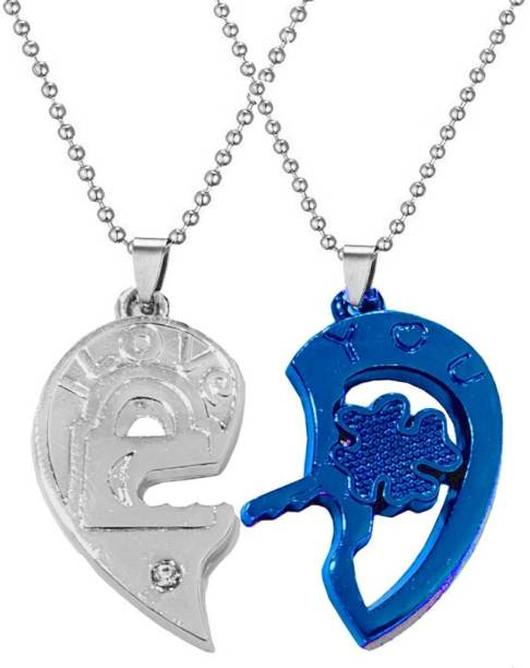 Men Style Valentine Gift His And Her Broken heart I Love You Flower Key Lock Couple Locket With 2 Chain Zinc, Metal Pendant Set