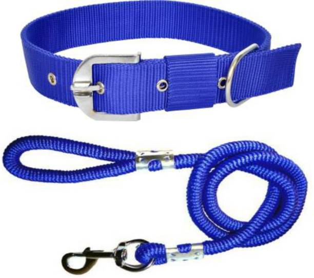 BODY BUILDING Dog Belt Combo of Blue Dog Collar with Blue Lead 1.5m Lengthy Dog Collar & Leash