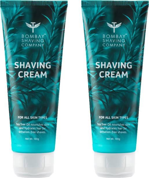 BOMBAY SHAVING COMPANY Shaving Cream with Tea Tree oil , Aloe Vera and Menthol Extracts- 2 x 100 g (Value Pack of 2)