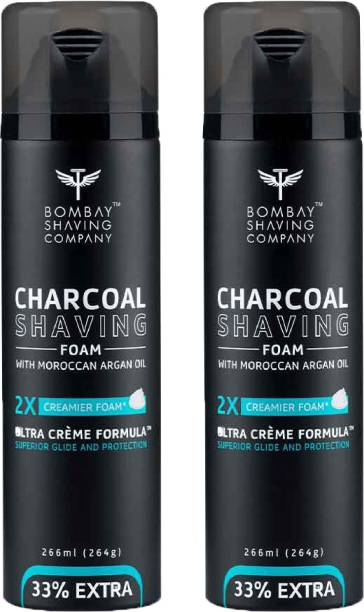 BOMBAY SHAVING COMPANY Activated Charcoal Shaving Foam with Moroccan Argan Oil, 2X Creamier for Superior Glide and Protection, 2 x 266 ml (33% Extra, Value Pack of 2)