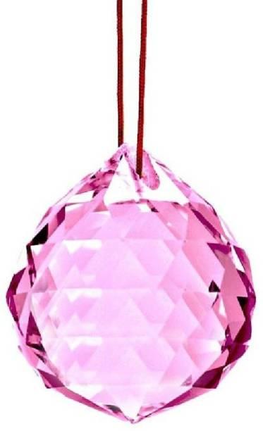Astrodidi Feng Shui Pink Crystal Ball Reiki Sphatik Prism Ball 40mm for Positive Energy Decorative Showpiece  -  5 cm
