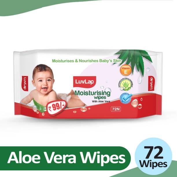 LuvLap Baby Moisturising Wipes with Aloe Vera, 72 wipes/pack