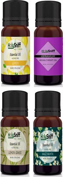 HolySniff Lemon, Geranium, LemonGrass, Nagchampa Aroma Oil, Refill, Fridge Freshener, Potpourri