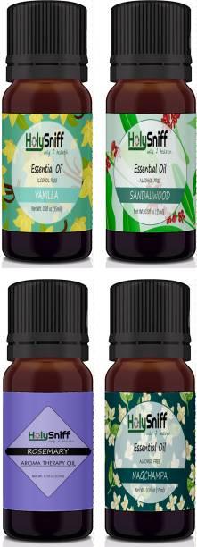 HolySniff Vanilla, Sandal, Rosemary, Nagchampa Aroma Oil, Refill, Fridge Freshener, Potpourri