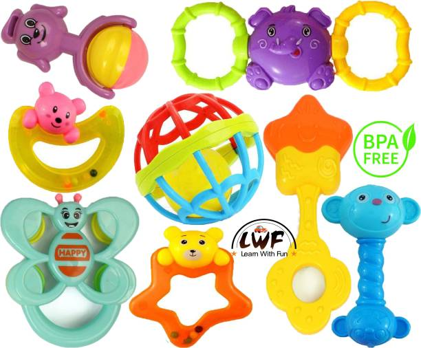 Learn With Fun Lovely Attractive Colorful New Baby Born Rattle Set Toy Intelligence Education Develop for kids Child Toddlers Infants Babies Gift Rattle