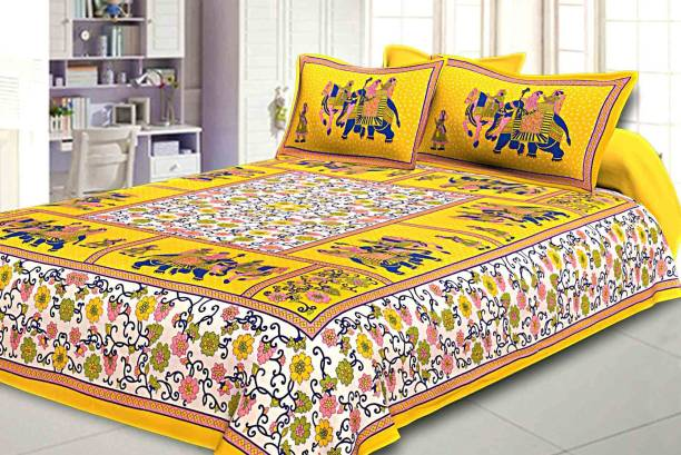 Rajasthani jaipuri Print 200 TC Cotton Double King, Double Jaipuri Prints Bedsheet