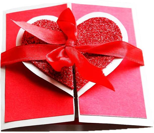 Gaurangi card valentine's day card red glitter heart opening- Valentines day I Love you greeting card for boyfriend husband wife girlfriend Greeting Card
