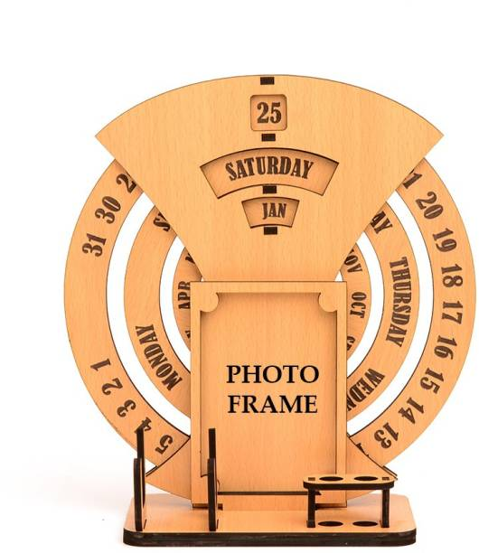 GIFT KYA DE 2 Compartments Wood Calendar, Photo Frame, Pen Stand, Card Holder