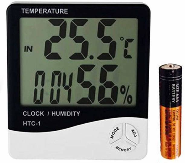 SellRider Imported Humidity Meter Clock Digital White Clock High accuracy LCD Digital Thermometer All-in-One Digital Moisture Measurer