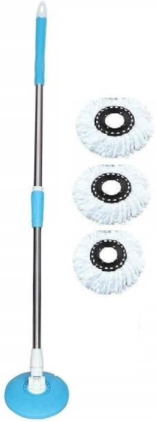 Keen 360° Spin Stainless Steel Rod Stick Rotating Pole with 3 Micro Fiber Refills(Blue) Mop, Mop Refill