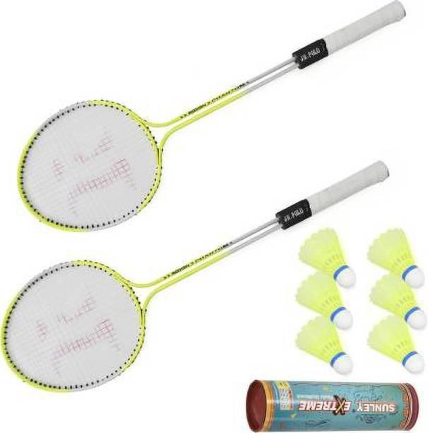 SBM Badminton Racquet Set Of 2 Piece With 6 Piece With Nylon Shuttle Cock Badminton Kit