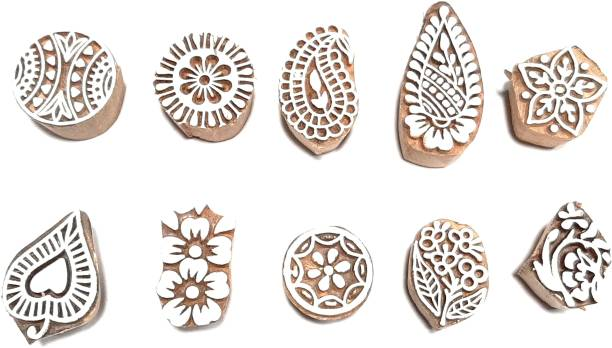 wooden block stamps 10 pieces Set Printing Block for Henna Saree Shalwar Suite Duptta Textile Printing Block Print and Scrap Booking etc. Printing Blocks