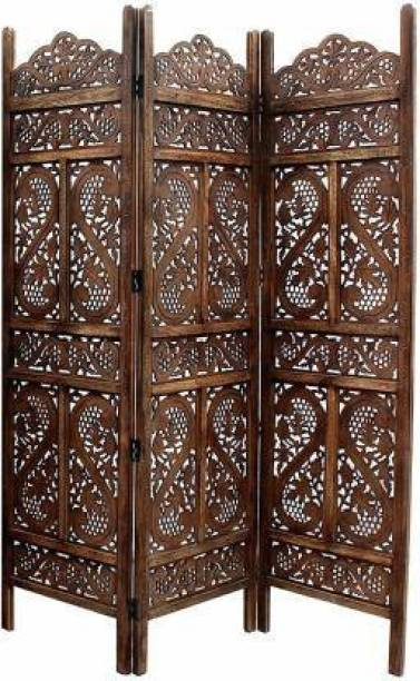 Decorhand Handcrafted 3 Panel Wooden Room Partition & Room Divider (Brown) Solid Wood Decorative Screen Partition