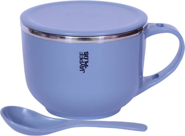 Jaypee Plus Jaypee Plus Stainless Steel Soup Container With Lid & Spoon Holder Souptok Blue Bowl, Spoon, Cup Serving Set