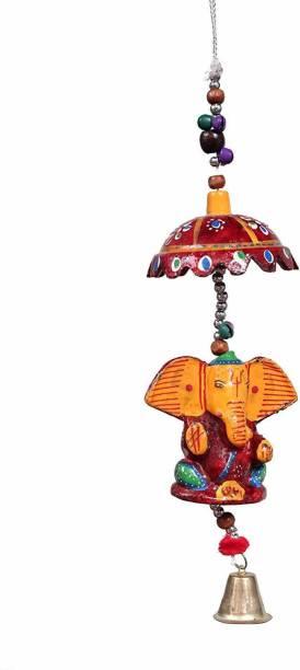 RVART Ganesha Design Wood Windchime Plastic Windchime