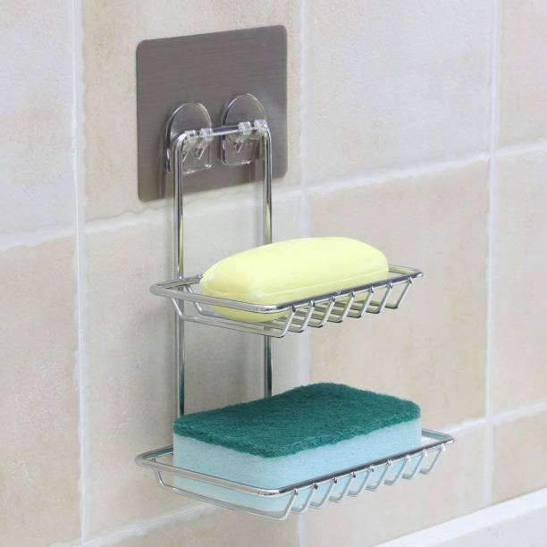 DIVINZ Wall Mount Self-Adhesive Stainless Steel Waterproof Kitchen Bathroom Double-Layer Soap Dish Holder