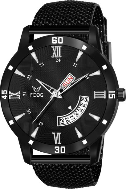 Fogg 2121-BK Round Day & Date with Black Rubber Strap Analog Watch  - For Men