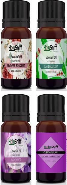 HolySniff Diffuser oil, Set of 4, FlowerBouqet, Sandal, Lavender, Geranium Aroma Oil, Refill, Fridge Freshener, Potpourri