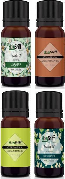 HolySniff Jasmine, Cinnamon, Citronella, Nagchampa Aroma Oil, Refill, Fridge Freshener, Potpourri