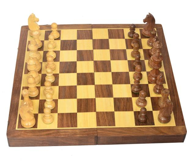 """All About Wood 16"""" X 16"""" inches Wooden Chess Folding Board Game Set-Handcrafted Premium Quality 40.64 cm Chess Board"""