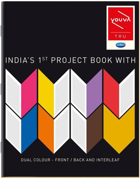 NAVNEET Youva Soft Bound Project Book 22x28 cm 1 Side Ruled & 1 Side Plain 32 Pages Regular Notebook 1 Side Ruled & 1 Side Plain 32 Pages