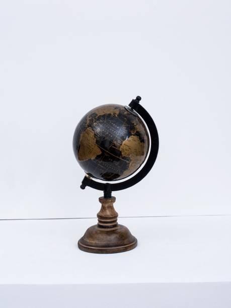 "CASA DECOR Fermi Zone Black Sea World Globe for Kids | 5"" Desktop Globe with Wooden Stand Desk & Table Top World World Globe"